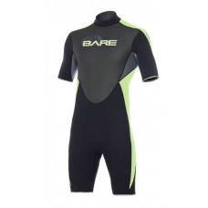 BARE 2mm Velocity Men's Shorty Stretch Wetsuit - Black/Lime